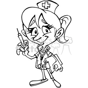300x300 Royalty Free Female Nurse Cartoon Character In Black And White