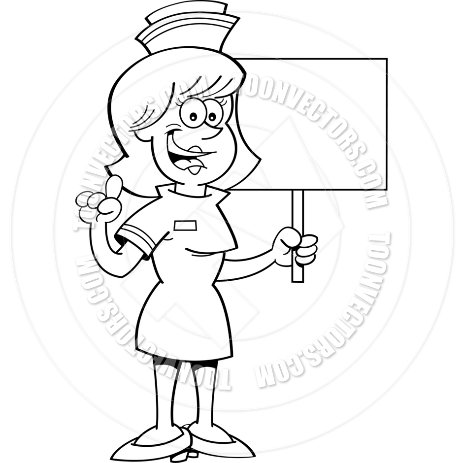 940x940 Cartoon Nurse Holding A Sign (Black Amp White Line Art) By Kenbenner