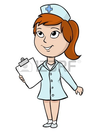 338x450 Cartoon Cute Nurse With Blank Tablet Illustration Royalty Free