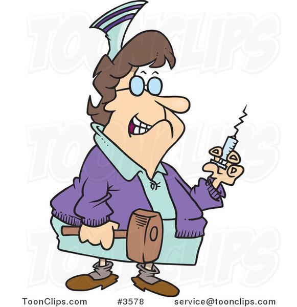 581x600 Cartoon Grim Nurse Holding A Syringe And Hammer