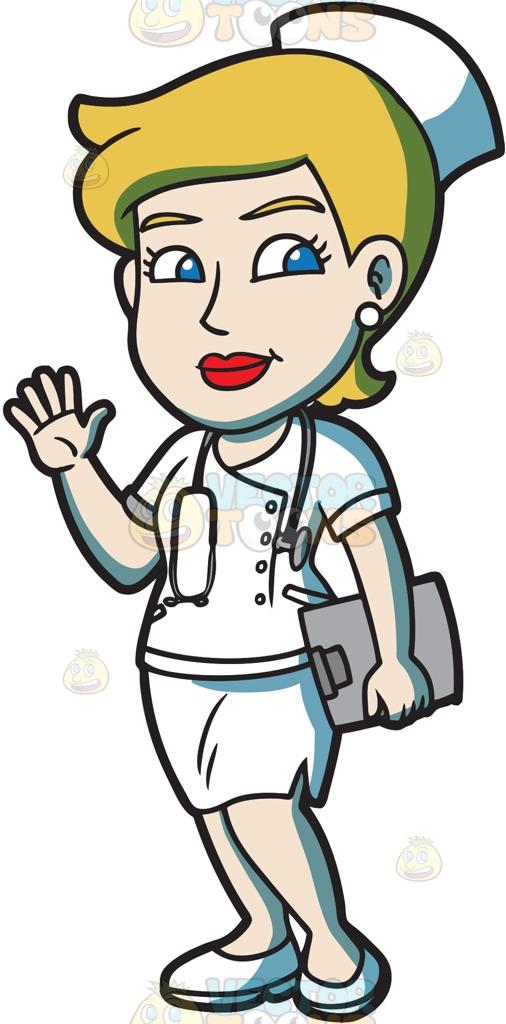 506x1024 A Friendly Female Nurse Cartoon Clipart