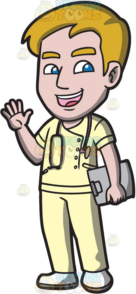 474x1024 A Friendly Male Nurse Saying Hello Cartoon Clipart