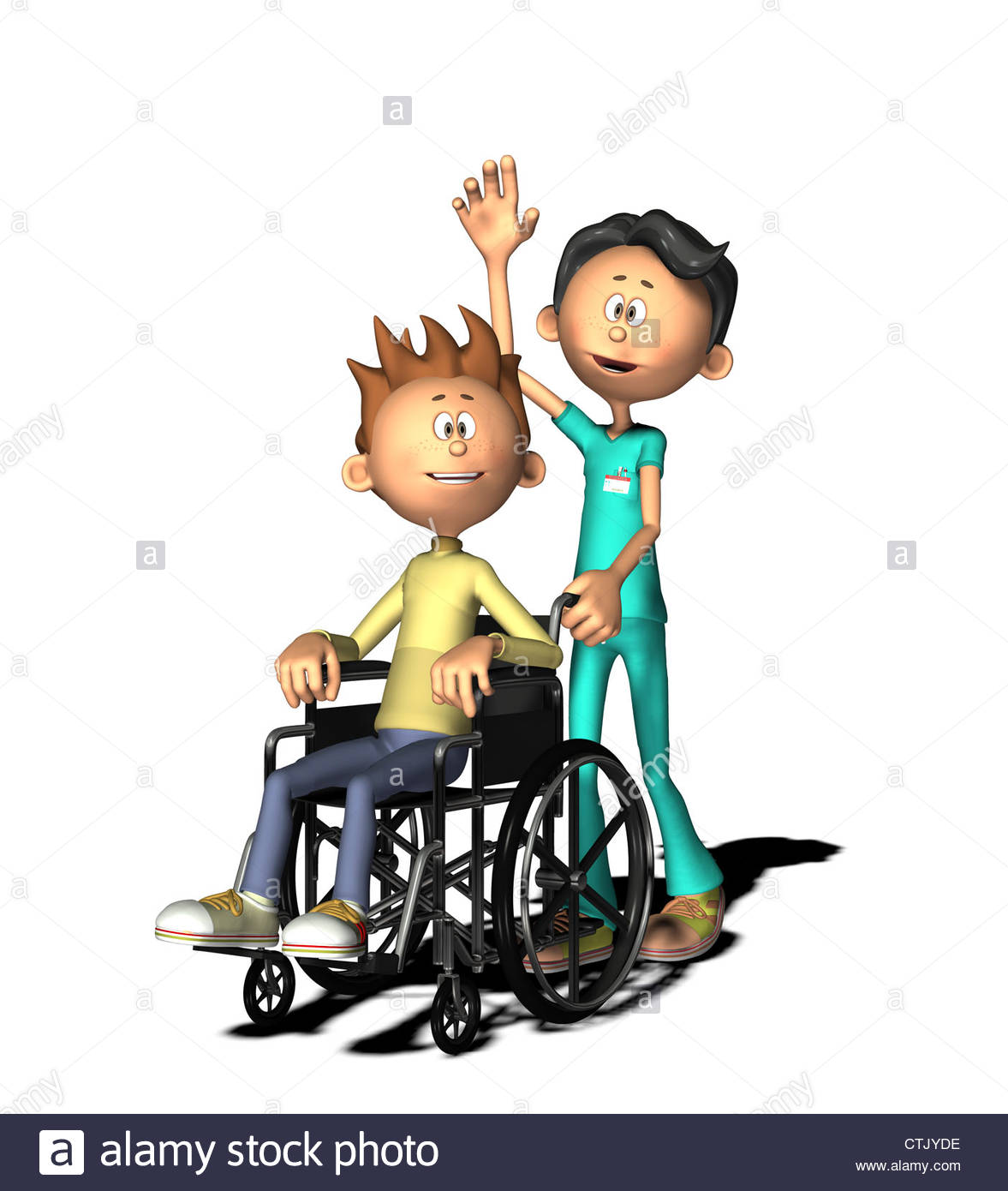 1177x1390 Cartoon Figure Boy With Wheelchair And Male Nurse Stock Photo