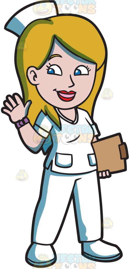 492x1024 A Happy Female Nurse Cartoon Clipart
