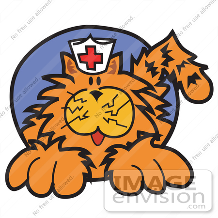 450x450 Royalty Free Cartoon Clip Art Of An Orange Cat Wearing A White