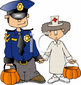 285x300 Clipart Picture Of Two Trick Or Treaters Dressed Up Like