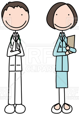 275x400 Cartoon Illustration Of Doctor And Nurse Royalty Free Vector Clip