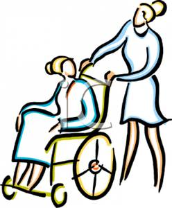 248x300 Nurse Pushing A Woman In A Wheelchair