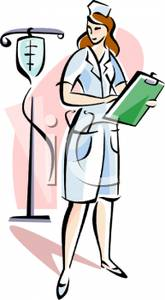 165x300 Art Image A Nurse Charting And Looking At An Iv