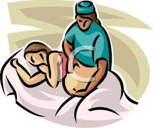 300x252 Art Image A Nurse Examing A Pregnant Woman's Belly