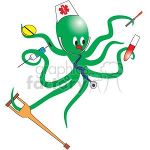 300x300 Royalty Free Green Nurse Octopus 133681 Vector Clip Art Image
