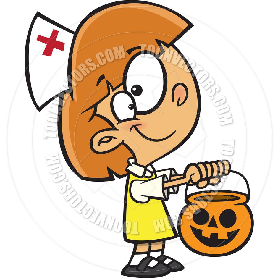 940x940 Cartoon Girl With Nurse Halloween Costume By Ron Leishman Toon