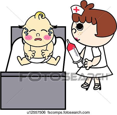 450x442 Clip Art Of People, Treatment, Job, Baby, Nurse, Medical U12557506