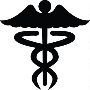 300x300 Caduceus Medical Nurse Symbol Silhouette Car Window Decal Sticker