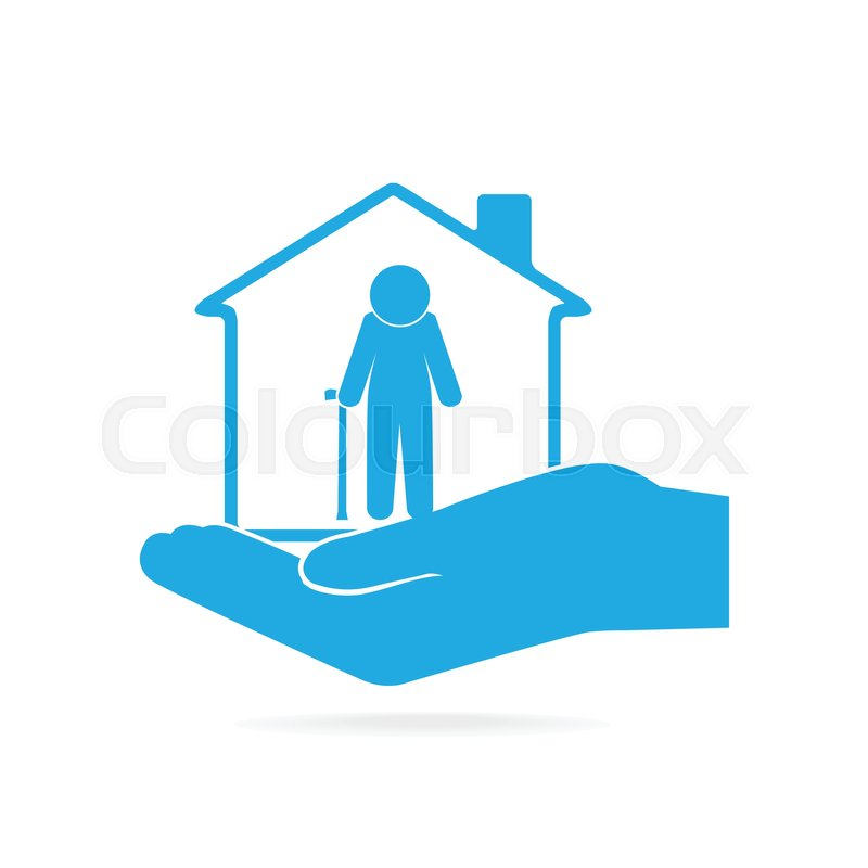 800x800 Nursing Home For Elderly In Hand Icon, Care Or Protection Concept