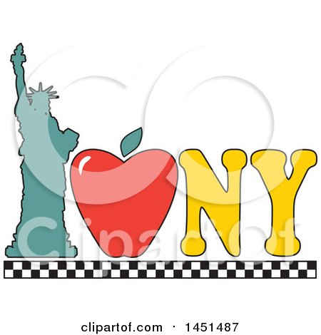 450x470 Clipart Of A White Ny For New York Word Tag Collage Over Black