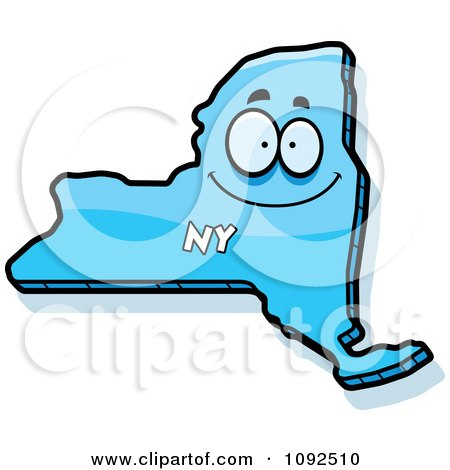 450x470 Clipart Happy Blue New York State Character