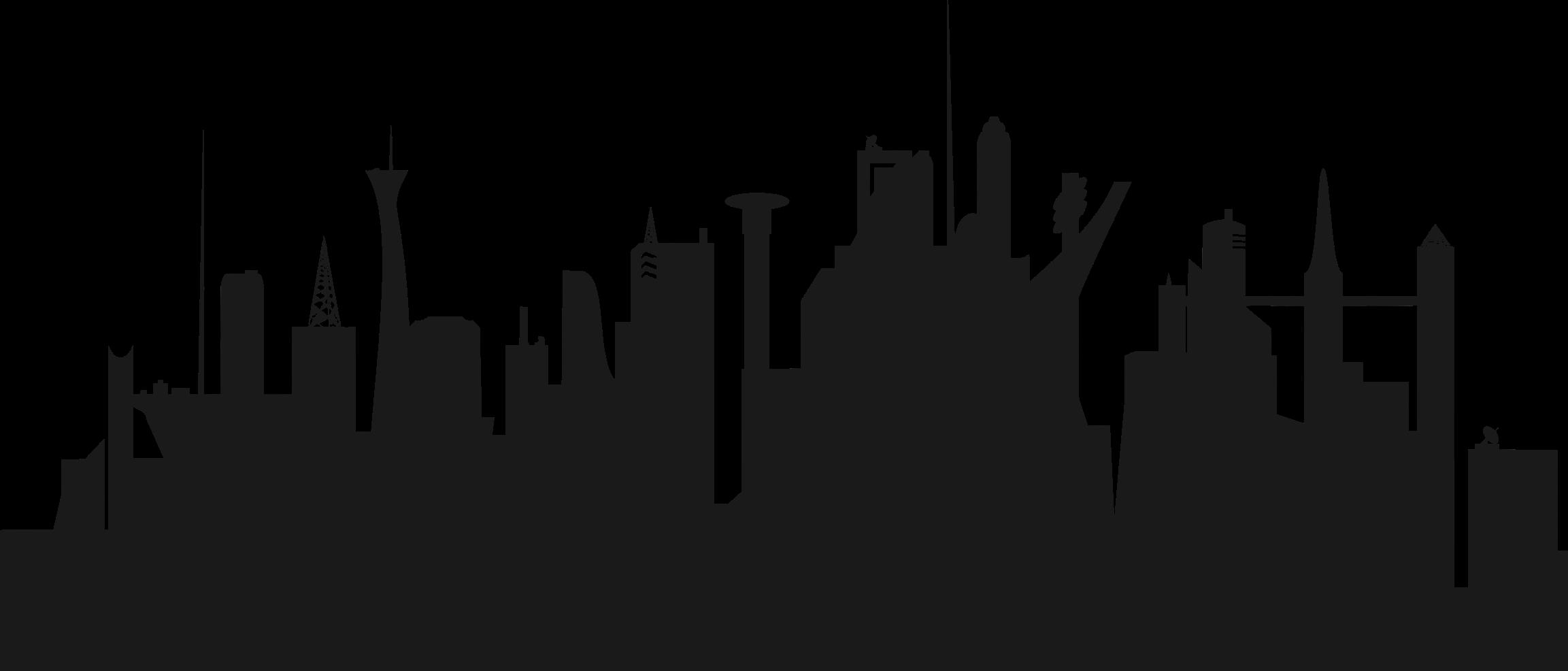 2305x986 City Clipart Cityscape