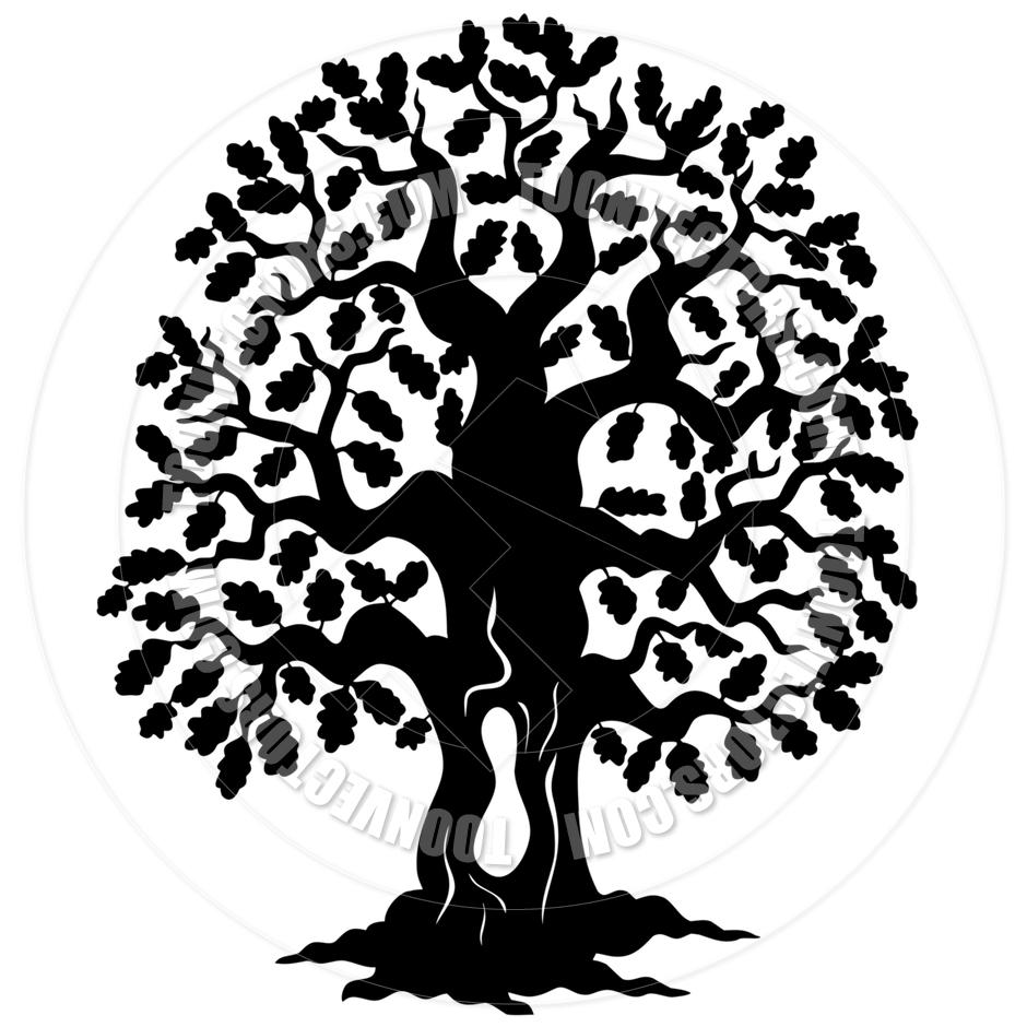 940x940 Cartoon Oak Tree Silhouette By Clairev Toon Vectors Eps