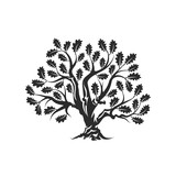 160x160 Huge And Sacred Oak Tree Silhouette Logo Badge Isolated On White