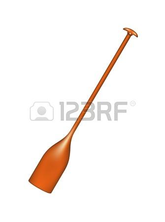 335x450 Vector Illustration Of Orange Kayak And Plastic, Rowing Oar