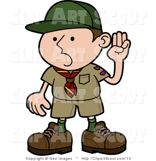 600x620 Vector Clipart Of A Boy Scout Pledging The Oath By
