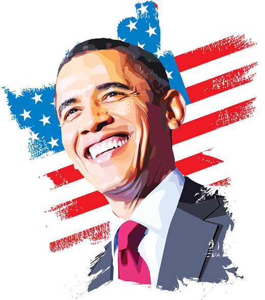 520x588 35 Amazing Examples Celebrity Vector Illustration Obama