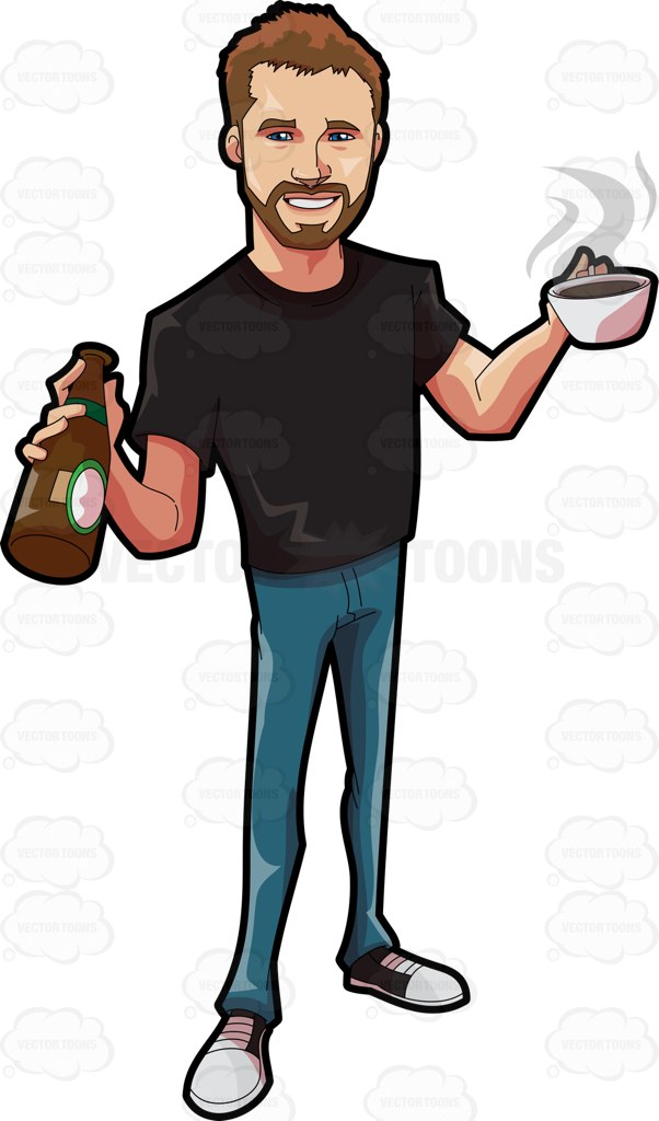 602x1024 A Cute Guy Holding A Couple Of Hot And Cold Drinks Cartoon Clipart