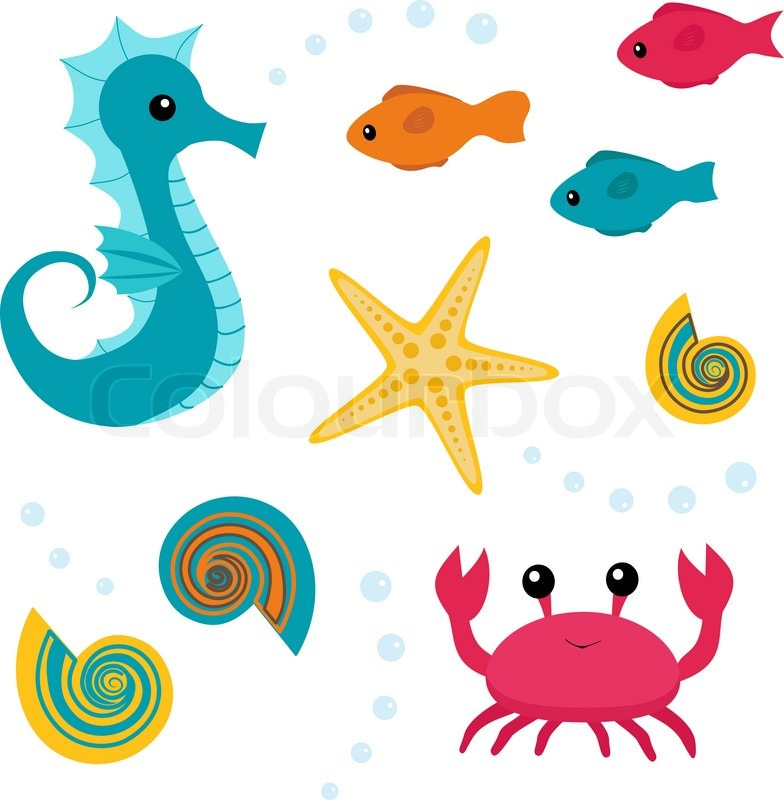 784x800 Cartoon Sea Life Set 3 Stock Vector Colourbox