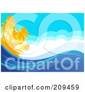 175x190 Clipart Of A Tropical Volcanic Island