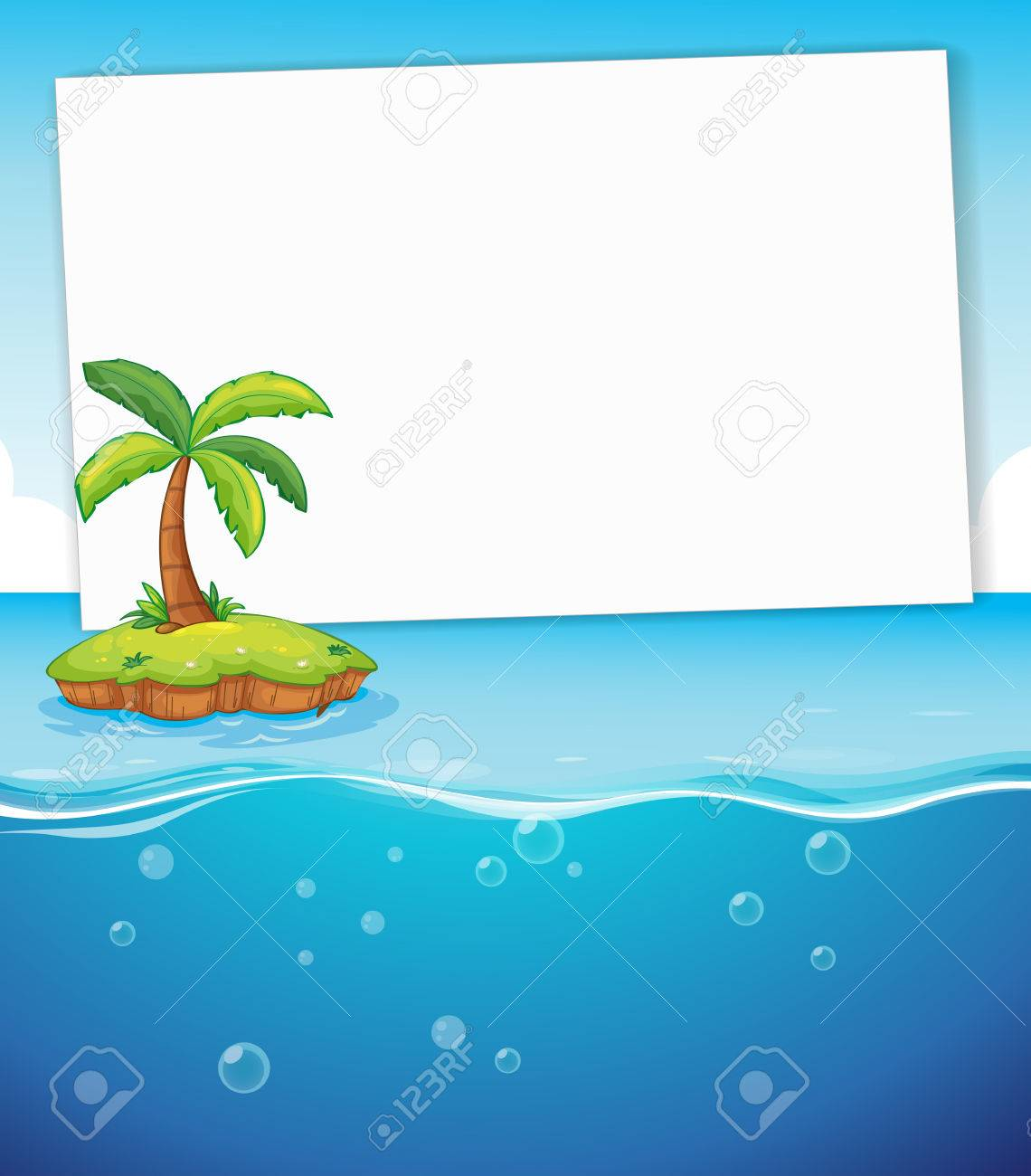 1140x1300 Blank Banner With Island And Ocean Background Royalty Free
