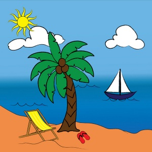 300x299 Hawaiian Palm Trees Clip Art Image Tropical Paradise with