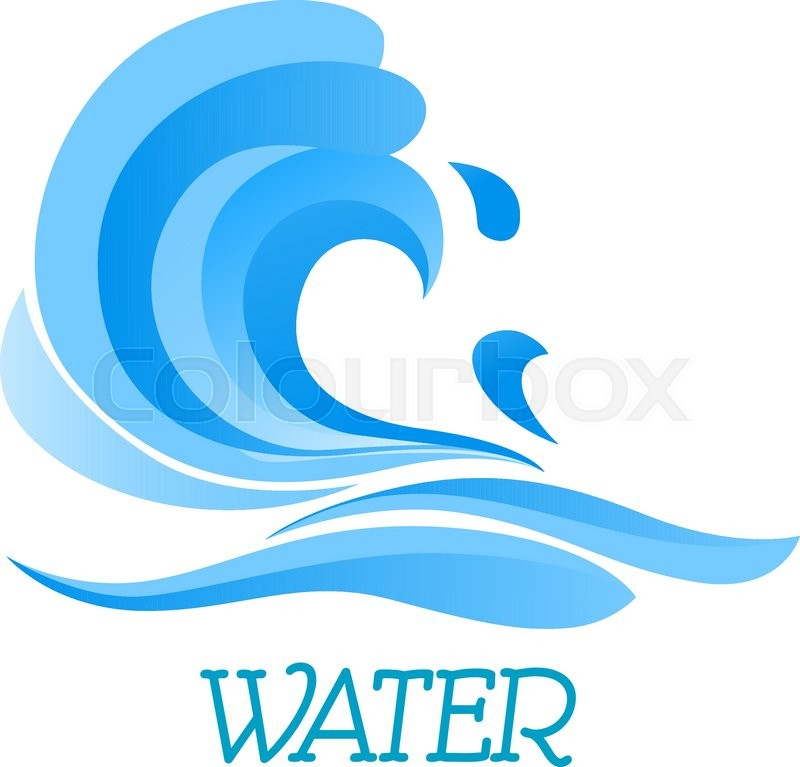800x767 Sea Wave Symbol With Billowing Blue Water Curl, Drops And Splashes