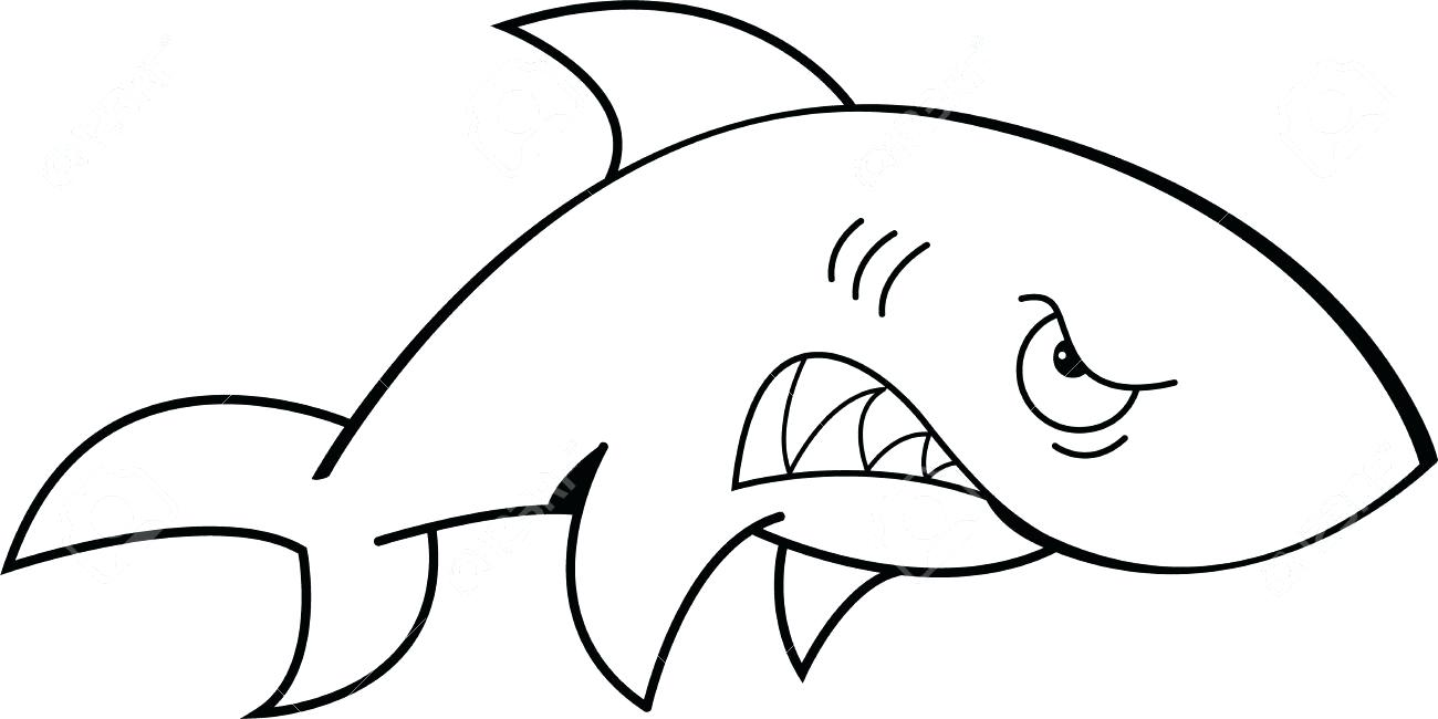 1300x650 Clip Art Of A Black And White Mean Shark Outline Swimming Through