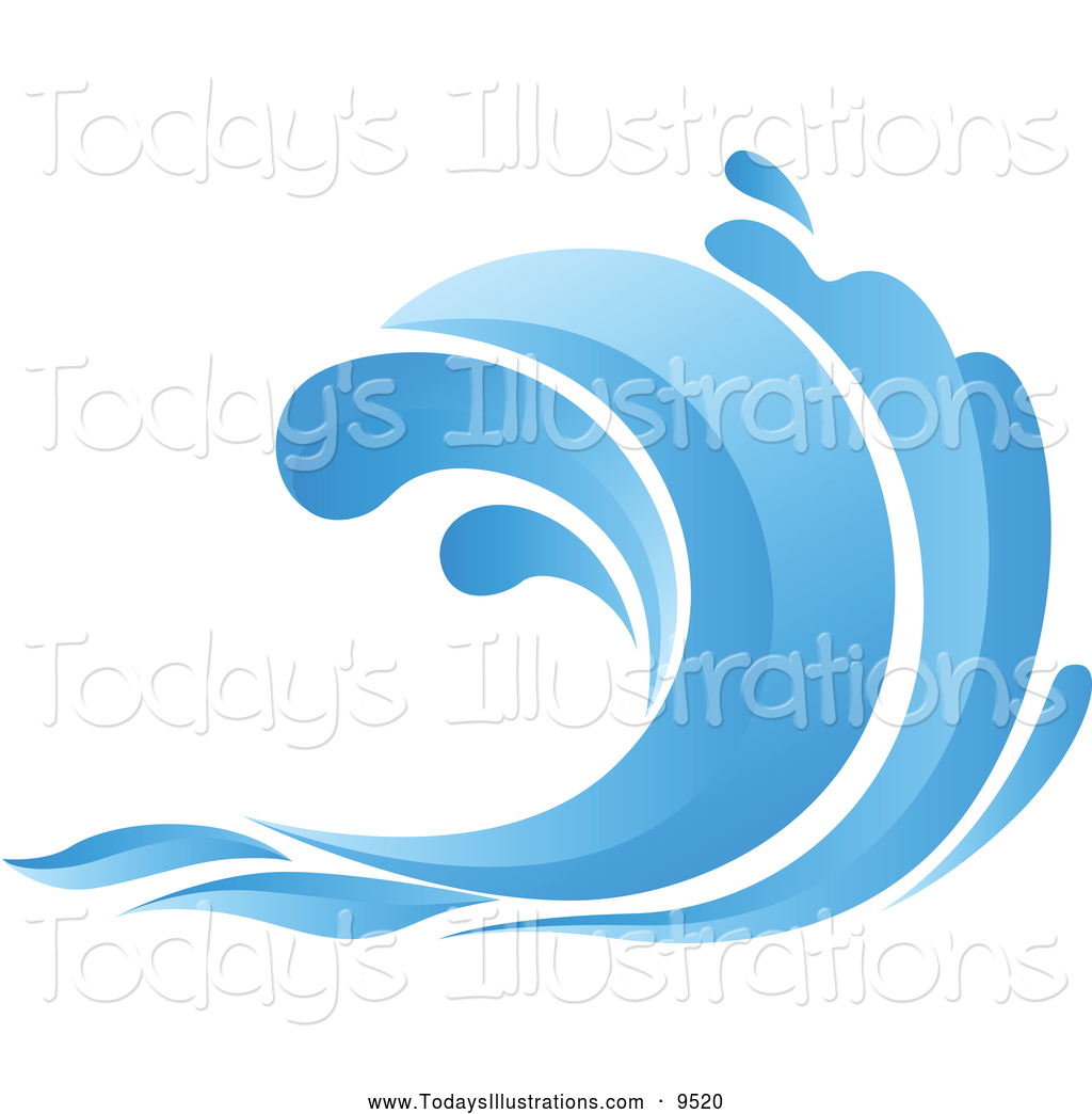1024x1044 Clipart Of A Blue Ocean Wave By Vector Tradition Sm