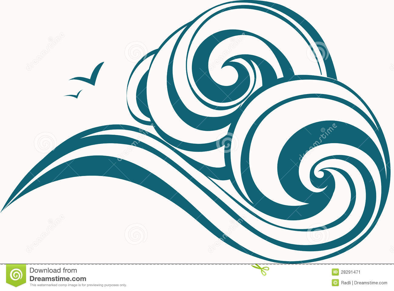1300x959 Simple Waves Clipart