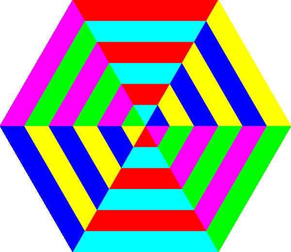 600x520 Hexagon Triangle Rainbow Clip Art