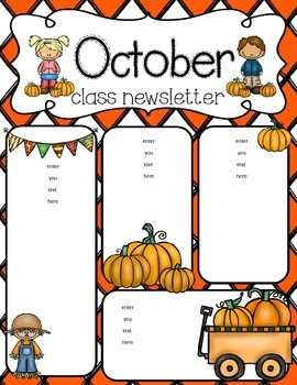 270x350 October Newsletter Freebie Kindergarten School