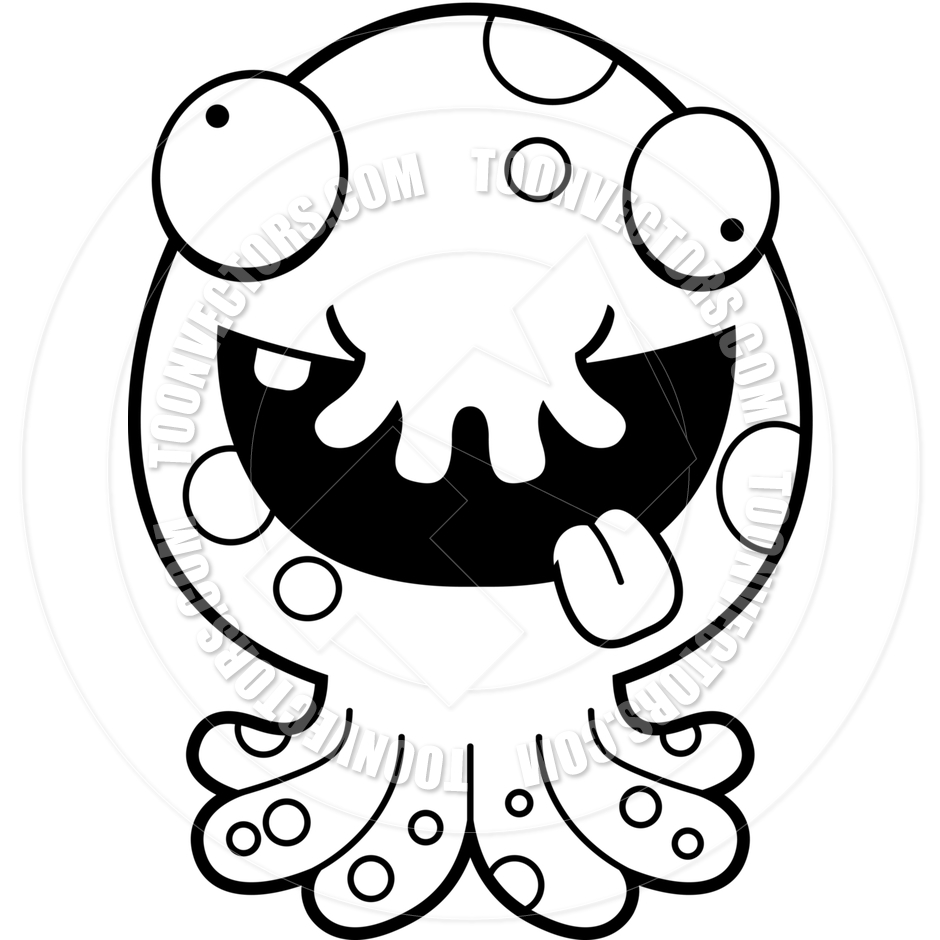 940x940 Cartoon Alien Octopus Monster Crazy (Black And White Line Art) By