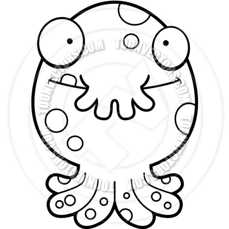 460x460 Cartoon Alien Octopus Monster Happy (Black And White Line Art) By