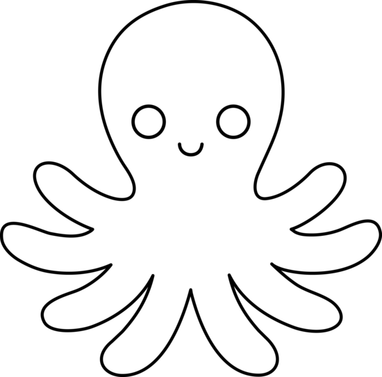550x542 Octopus Black And White Black And White Octopus Clipart