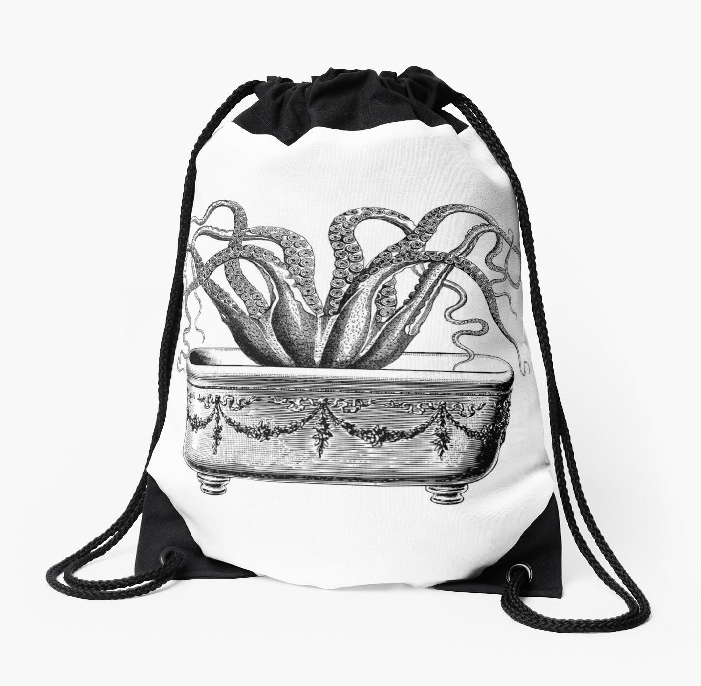 1435x1404 Tentacles In The Tub Octopus Black And White Drawstring Bags