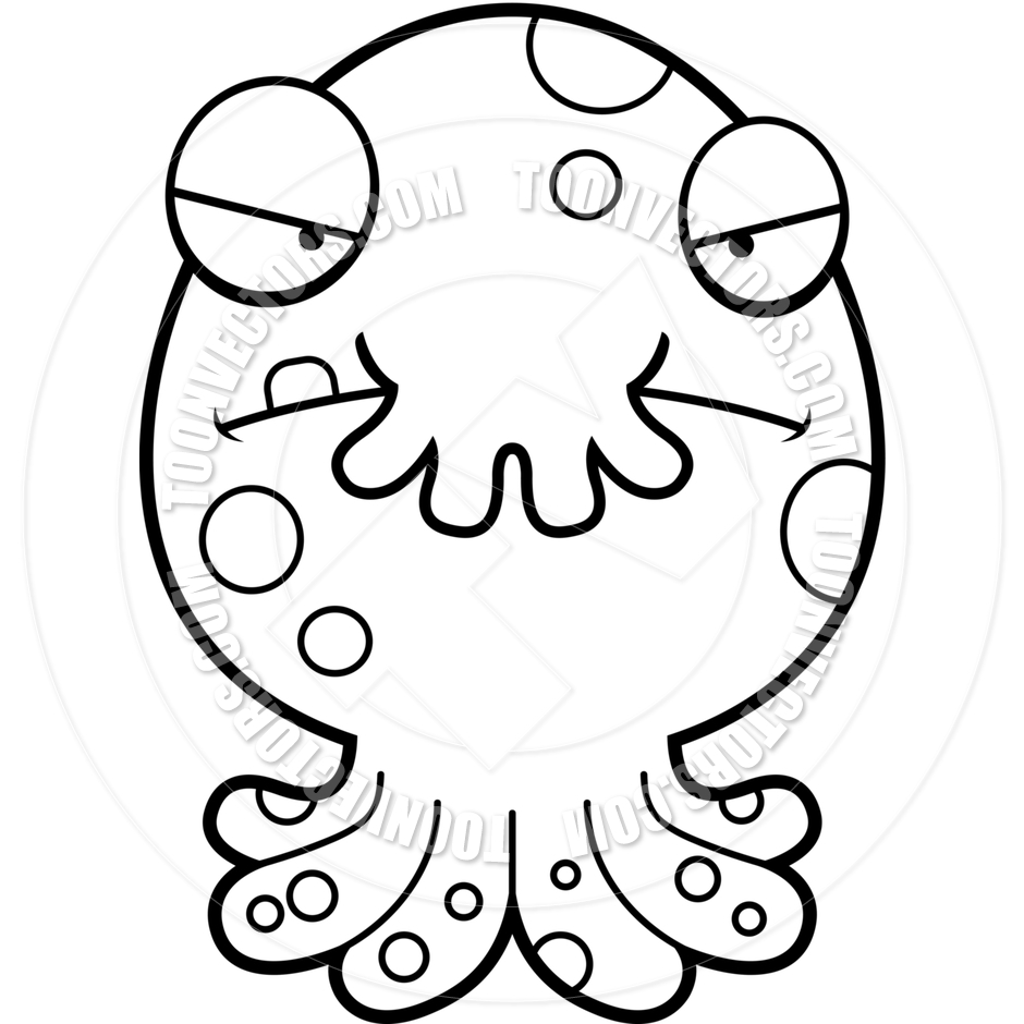 940x940 Cartoon Alien Octopus Monster Angry (Black And White Line Art) By
