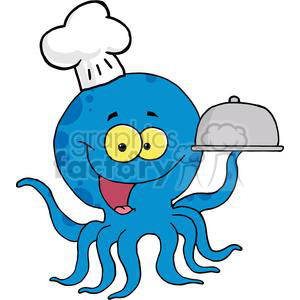 300x300 Royalty Free Octopus Chef Serving Food In A Sliver Platter 379428