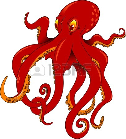 407x450 Giant Squid Isolated On White, Vector Octopus Silhouette Royalty