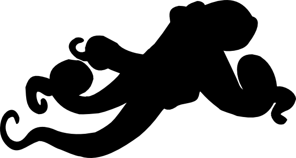 600x320 Black Octopus Blackgound Clip Art
