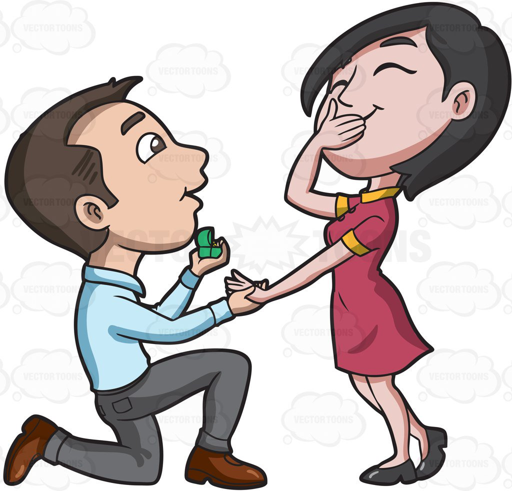 1024x982 A Man Offering Marriage To His Happy Girlfriend Cartoon Clipart