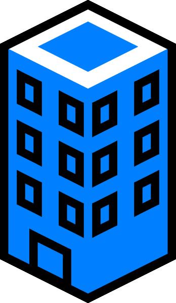 348x599 Office Building Blue Clip Art