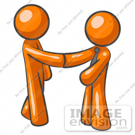 450x450 Clip Art Graphic Of Orange Guy Characters Shaking Hands