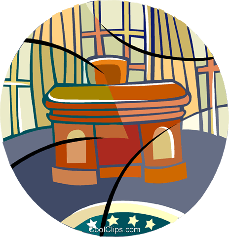 464x480 The Oval Office, The President's Desk Royalty Free Vector Clip Art